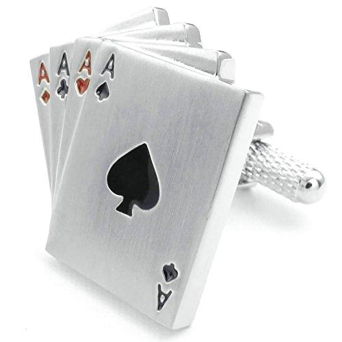 Adisaer Edelstahl Manschettenknöpfe Herren Ace Spielkarten Herz Manschettenknopfe Silber Schwarz Rot Für Männer Hemd Anzug (Echte Anzüge Spiderman)
