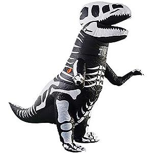 DIZOONY Costume de Déguisement Fantaisie Gonflable T-Rex Dinosaure Squelette Adulte Les fêtes/Halloween/Cosplay/carnavals, 1,6m-1,9m