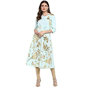 Ziyaa Women's Summer Blue Color Flared Foil Print Kurta (ZIKUCR2268) Best Online Shopping Store