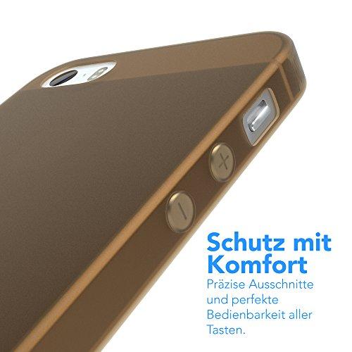 """EAZY CASE Handyhülle für Apple iPhone SE, iPhone 5S/5 Hülle - Premium Handy Schutzhülle Slimcover """"Clear"""" hochwertig und kratzfest - Transparentes Silikon Backcover in Klar / Durchsichtig Matt Braun"""