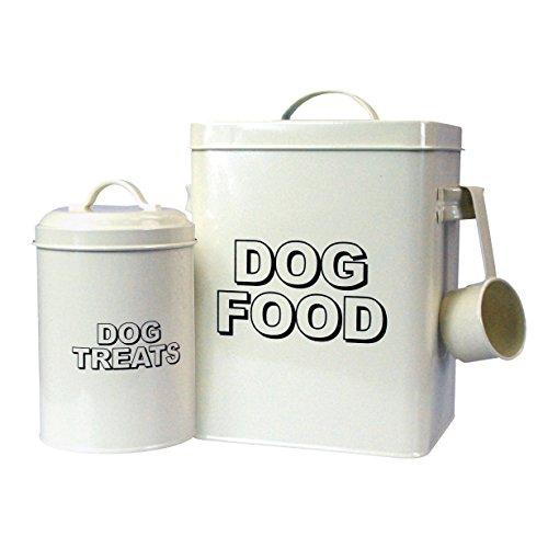 CrazyGadget® Vintage Classic Retro Dog Food Treats Storage Container Set -  Cream