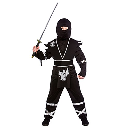 Boys Ninja Assassin Black Silver Fancy Dress Up Party Costume Halloween Outfit