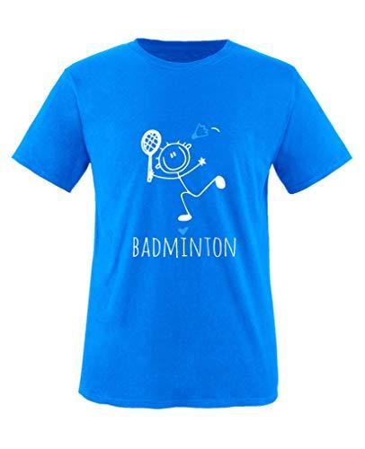 Comedy Shirts - Badminton Herz - Jungen T-Shirt - Royalblau/Weiss-Blau Gr. 134/146