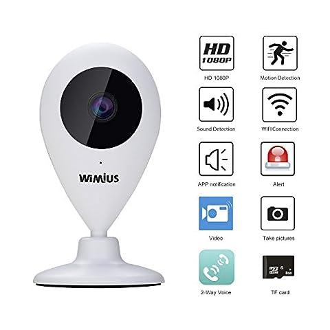 Caméra IP, Caméra HD 1080P Caméra de Surveillance WiFi Grand Angle 111º Deux Voies Audio/ Vision de Nuit/ Détection de Mouvement/ Alerte/ Moniteur à Distance/ Microphone/ Haut- Parleur/ Support Micro SD 64Go (Version EU)