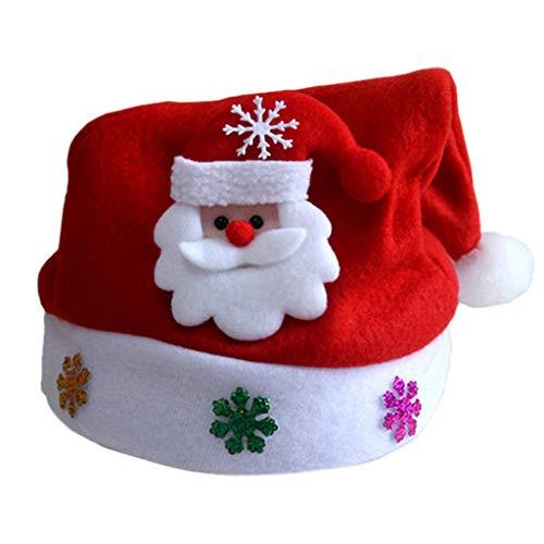 Joykk 1 pezzo cappello di natale babbo natale renna pupazzo di neve light cap regalo festa per adulti bambini - 4# babbo natale/b # adulto