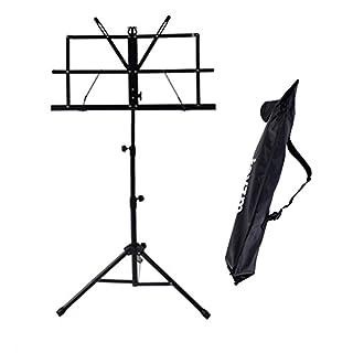 Rayzm Musik Notenständer, Robuster tragbarer klappbarer Metallständer mit Tragetasche, Einstellbare Höhe, Maximale Belastbarkeit 1,5kg, Leicht und Kompakt zum lagern und reisen