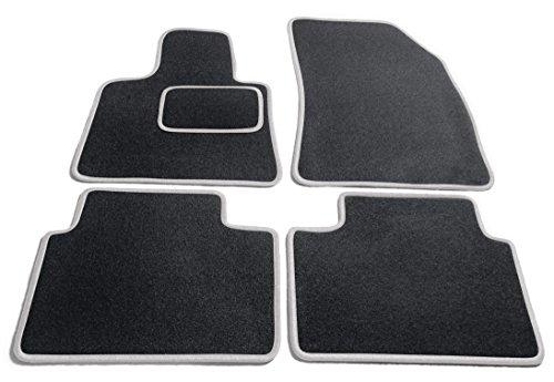 Preisvergleich Produktbild JediMats 10156K Korfu Maßgeschneiderte Fußmatte für Ihr Auto, Schwarz, Silber Umrandung