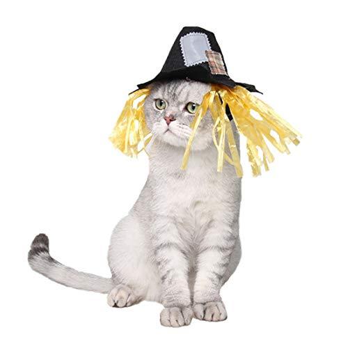 Hunde Kostüm Vogelscheuche - AUSWIEI Karnevals-lustige Flecken-Vogelscheuche-Hut-Haustier-Hund und Katze Kostüme für Feiertags-Partys mögen Halloween, Weihnachten und Ostern (Color : Black, Size : L)