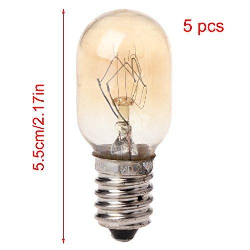 Freshsell 5 Stück Mikrowellen-Glühbirne 230 V 20 W Glaslampe Schraubfassung