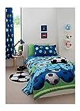 2 Stück Fußball Blau Baumwollmischung Einzelbett Bettbezug & Vorhänge