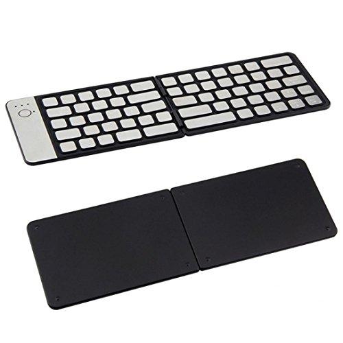 Bluetooth 3.0 Tragbare Faltbare Tastatur Fullfun Aluminiumlegierung Wireless Tastatur für Apple Android Microsoft System PC Tablet Laptop, wasserdicht schwarz schwarz 285.5 * 93.7 * 4mm
