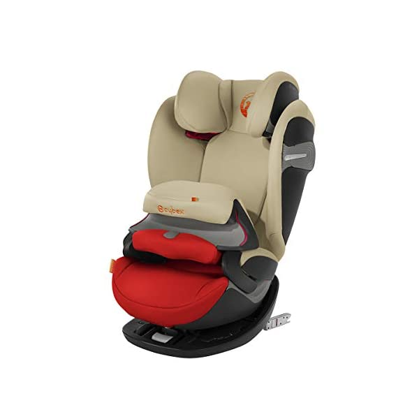 cybex Pallas S-Fix Car Seat, Group 1/2/3, Autumn Gold Cybex Group 1/2/3 combination car seat. suitable from 9 - 36kg. designed to be used until a maximum height of 150cm, approximately 12 years. The optimized impact shield of the pallas s-fix reduces the risk of serious neck injuries without confining the child. shield suitable until 18kg. The integrated lisp. system offers increased safety in the event of a side-impact collision by reducing the forces by approximately 25%. 1