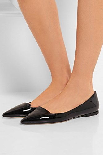 Kolnoo Femmes Ballets main New Style Pointy Flats Pompes Chaussures Black Black