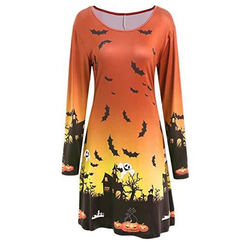 Damen Kleider Blusekleid Hemdkleider Frauen Kleid Partykleid Halloween Schlägerdruck Lange Ärmel Kostüme Kleidung