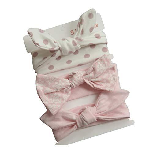COUXILY 3 Stück Baby Mädchen Stirnband 100% Baumwolle Haarband mit Bogen für 0-24 Monaten (B02)