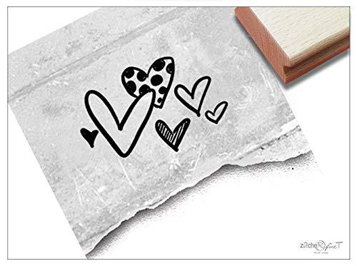 Stempel Motivstempel Kleine Herzen - Bildstempel für Karten Geschenk Valentinstag Hochzeit Scrapbook Bullet Stamp Tischdeko Deko - zAcheR-fineT -