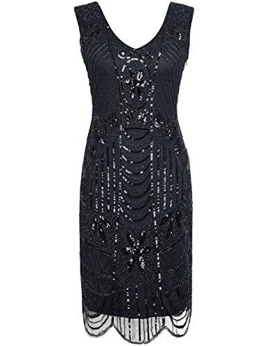 Kayamiya Damen Retro 1920er Perlen Pailletten Blatt Art Deco Gatsby Flapper Kleid M (Mädchen Schwarz Flapper Kostüme)