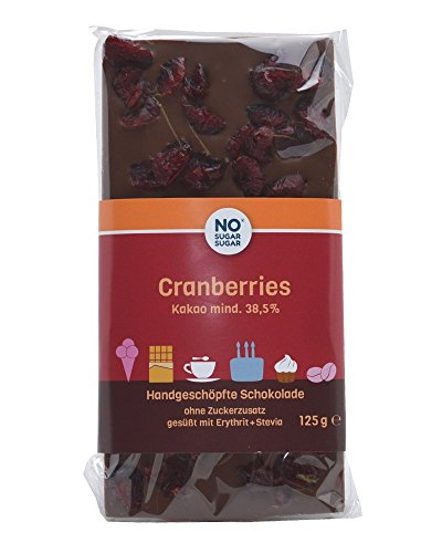 NO SUGAR SUGAR | Cranberries Schokolade (125 g) vom Konditor, zuckerfrei & Low-Carb