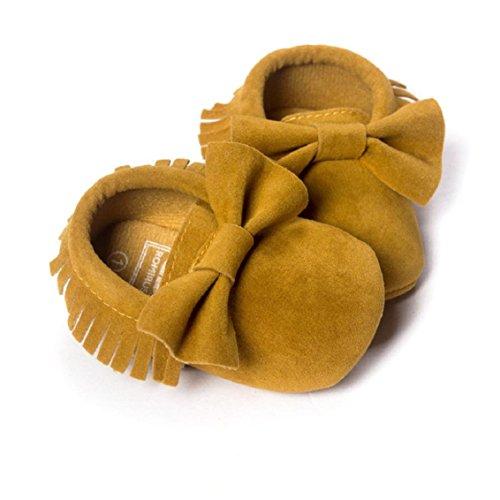OverDose Baby-Mädchen Krippe Quasten bowknot Schuhe Kleinkind Turnschuhe Beiläufig Schuhe (0-18 Monate) Gelb