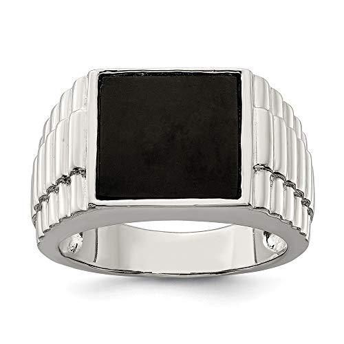 Diamond2deal 925 Sterling Silber Onyx Herrenring Größe 9