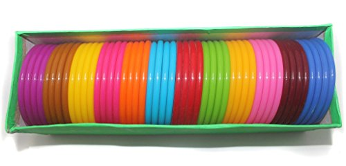 Beadsnfashion Plastic Colourful Thick Bangles For Silk Thread Jewellery Making, Full Box 48 Pcs, Size2.2