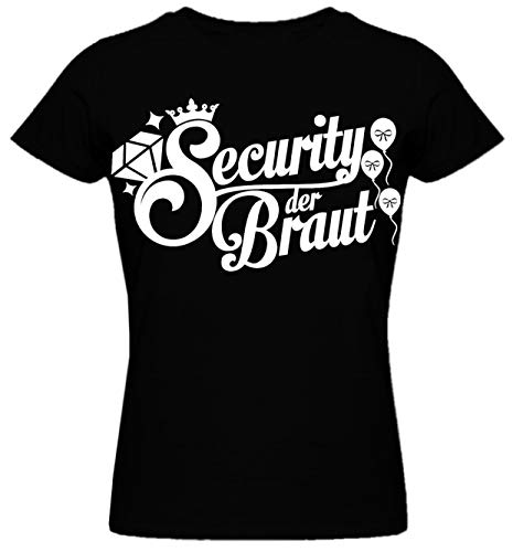 Junggesellinnenabschied Frau/Damen/Girlie T-Shirt - Braut- Security der Braut JGA Tshirt Junggesellenabschied (M, Schwarz/Security der Braut)