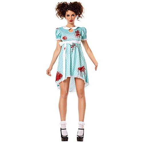 DuuoZy Frauen schreckliches blutiges blaues Abendkleid Cosplay Zombie Kostüm , xl , (Nachthemd Kostüm Blutige)