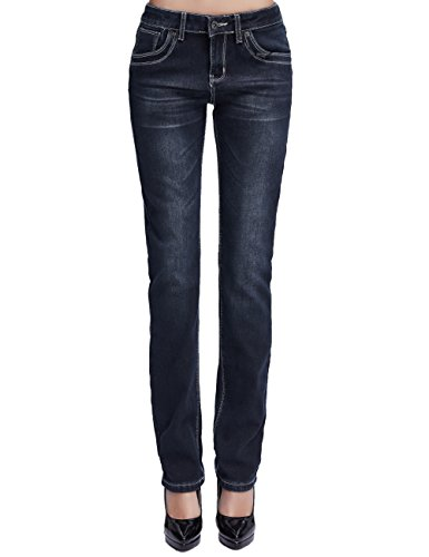 Camii Mia Damen Jeanshose Slim Fit Fleece Gefüttert Stretch Naht Low Rise Winter Dicke Thermo Jeans (W27 x L30, Black)