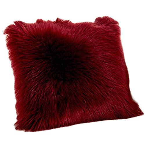Funda de Cojín, Faux Fur Throw Deluxe Home Decorativo Cuadrados y Sua