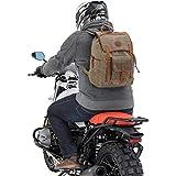 Motorrad Rucksack QBag Canvas Retro, großes Hauptfach, 3 Aufsatztaschen, Einschubtasche, widerstandsfähige, reißfeste u. wasserabweisend gewachste Canvas-Baumwolle m. Leder, Braun/Schlamm, 20 Liter
