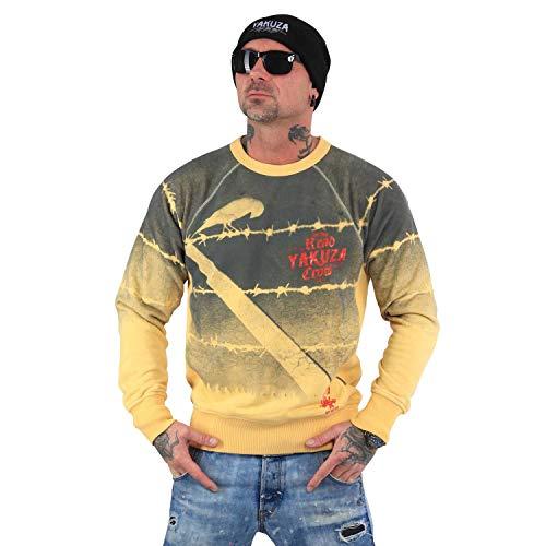 Pastel Yellow Label (Yakuza Original Herren Read Crow Pullover Sweater, Pastel Yellow Moonwashed - XXL)