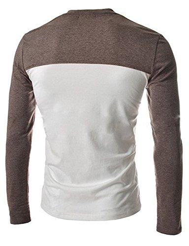 BOMOVO Herren V-Ausschnitt langärmlig T-Shirt Braun
