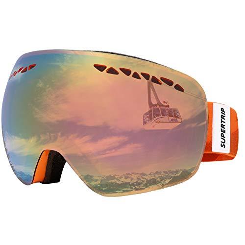 Supertrip Skibrille Damen Herren Snowboardbrille OTG verspiegelt Ski-Schutzbrillen 100% UV400 Schutz für Brillenträger Antifog (Orange Revo Rot (VLT 31%))