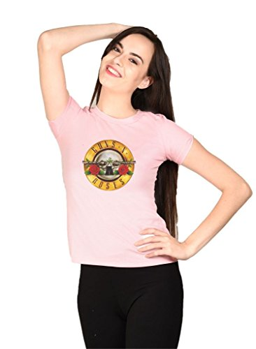LetsFlaunt Guns N Roses T-shirt Pink Girls Dry-Fit-X-Small Nw  available at amazon for Rs.449