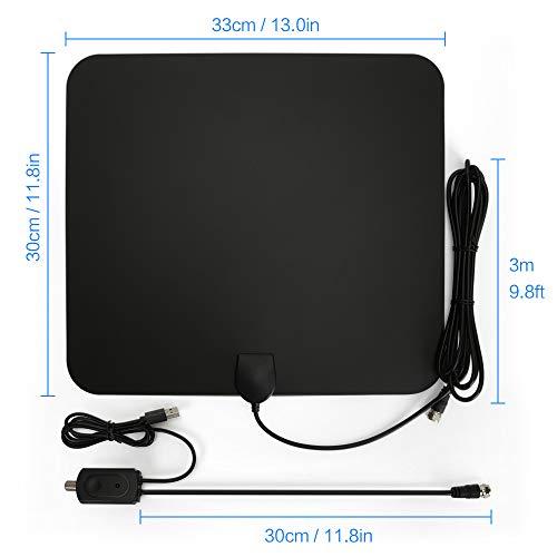 Antena de TV,  Antena Interior HDTV con Portatil Amplificador,  60- 80 Millas Gama de Recepción,  Obtenga Muchos Canales de TV Gratis,  Fácil de Usar y Instalar