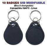 Lot de 10 badges Rfid Mif 1K 13.56Mhz | UID modifiable | Compatible libNFC Linux | T4U®