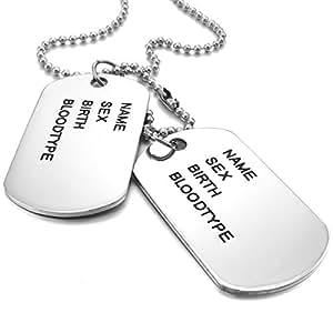 MunkiMix 2PCS Alliage Pendentif Collier Argent Armée double Dog Tag Motard 27 Pouce Chaîne Homme