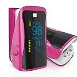 Henweit Pulsossimetro da cardiofrequenzimetro sangue saturazione di ossigeno SpO2Sensor LED display con borsa per il trasporto, cordoncino e batteria (rosa rosso (aggiornato))