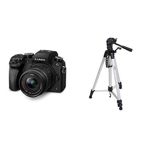 Panasonic LUMIX G DMC-G70KAEGK Systemkamera & AmazonBasics Leichtes Stativ, bis 1,52 m, inkl. Tasche, mit 3-Wege-Schwenkkopf und Wasserwaage Panasonic Canon Eos