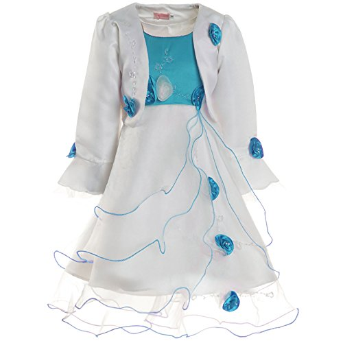 Mädchen Kommunions Kleid Festkleid Kostüm Bolero und Rose 21476, Farbe:Türkis, Größe:140
