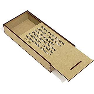 'When words become unclear, I shall focus with photographs. When images become inadequate, I shall be content with silence.' Quote by Ansel Adams Wooden Pencil Case / Slide Top Box (PC00001790)
