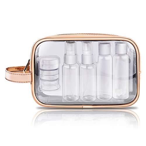 Bolsa de Aseo Transparente + 7 ollas, contenedores, Botellas Planas, Bolsa de Viaje de PVC, Bolsas de Maquillaje portátiles a Prueba de Agua para Mujeres y Hombres