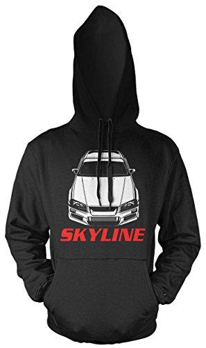 Uglyshirt89 Nissan Skyline Männer und Herren Kapuzenpullover | Motorsport Auto Kult Geschenk | M2 (M, Schwarz)