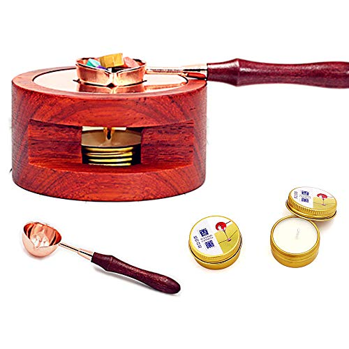 Siegelwachs-Siegelwärmer/Schmelzset, Holzwachs mit 1 Schmelzlöffel und 2 Kerzenset, Schmelzwerkzeug für Wachssiegelstempel