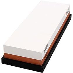 Pierre à aiguiser 3000/8000 Recto-Verso Corindon Aiguiseur de Couteaux pour Grossier Affûtage et Fine Honing avec Base Anti-dérapant,180 x 60 x 27 mm