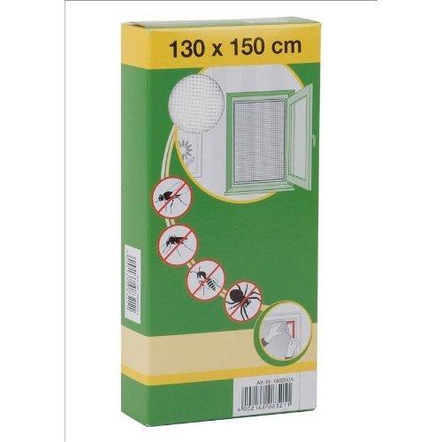 Mako Rejillas de protección contra los insectos Poliester 130 x 150 cm Mosquitera para ventana incl. Cinta de velcro blanco