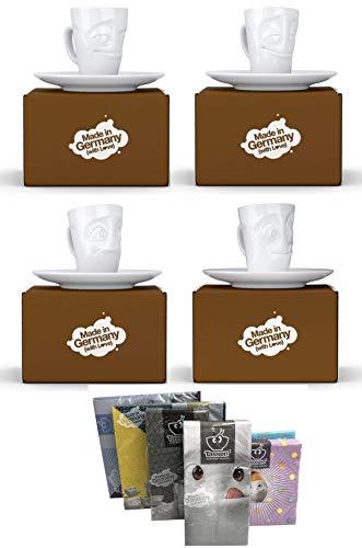 Fiftyeight Espressotassen / Mugs 4er Set + SERVIETTEN, 80 ml, VERSCHMITZT & VERGNÜGT & VERDUTZT & LECKER