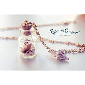 Sommer Schmuck Ozean Schmuck Shell Halskette, Glasflasche Halskette Miniatur Terrarium Schmuck, nautische Halskette, Geschenk für Frauen, Muschelschmuck.