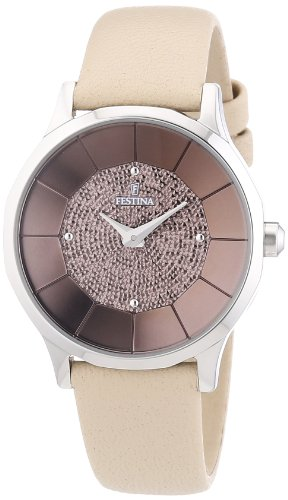 Festina F16661/3 - Reloj analógico de cuarzo para mujer con correa de piel, color beige