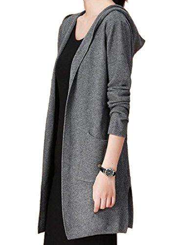 CuteRose Womens Hooded Relaxed-Fit Boyfriend Mid-Long Style Knitwear